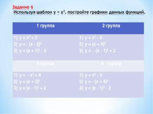 1 группа2 группа у = х2 + 2 у = - (х - 2)2 у = (х + 1)2 - 2у = х2 - 4 у = (