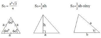 Картинки по запросу формулы для вычисления площади треугольника с рисунками