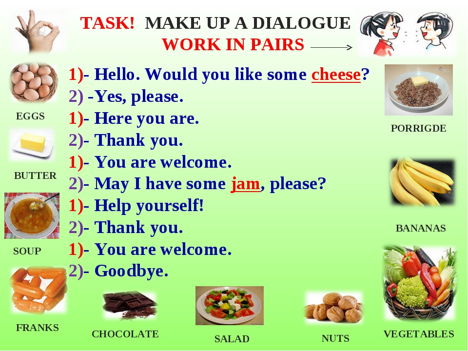1)- Hello. Would you like some cheese? 2) -Yes, please. 1)- Here you are. 2)-...