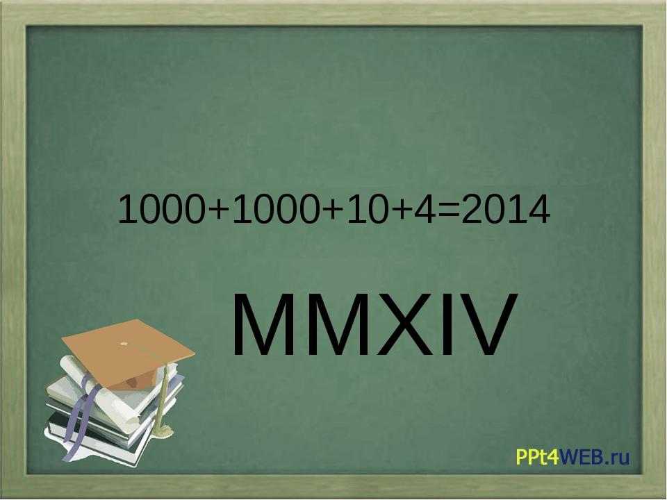 1000+1000+10+4=2014 ММХIV