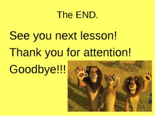The END. See you next lesson! Thank you for attention! Goodbye!!!