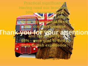 Practical significance Having read our brochure, 30% - became upset because t