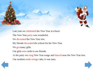 Last year we celebrated the New Year at school. The New Year party was wonder