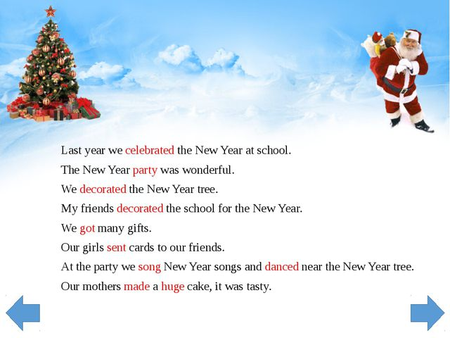 Last year we celebrated the New Year at school. The New Year party was wonder...