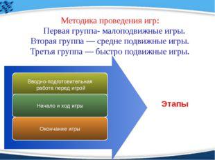 Методика проведения игр: Первая группа- малоподвижные игры. Вторая группа — с