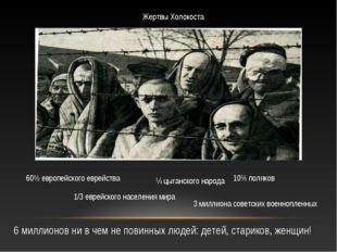 Жертвы Холокоста 60% европейского еврейства 1/3 еврейского населения мира ¼ ц