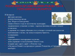 РАЗЛИЧИЯ В ПРАЗДНОВАНИИ РОЖДЕСТВА В ГЕРМАНИИ И В БЕЛАРУСИ В Беларуси: фигурки