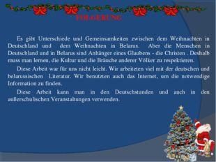 FOLGERUNG Es gibt Unterschiede und Gemeinsamkeiten zwischen dem Weihnachten i