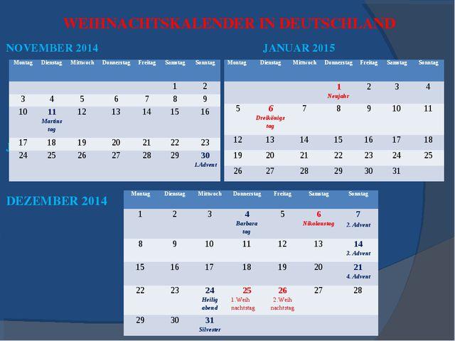 WEIHNACHTSKALENDER IN DEUTSCHLAND NOVEMBER 2014 JANUAR 2015 JANUAR 2015 DEZEM...
