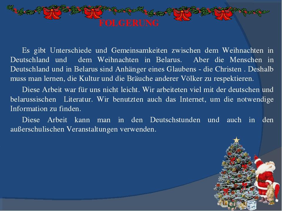 FOLGERUNG Es gibt Unterschiede und Gemeinsamkeiten zwischen dem Weihnachten i...