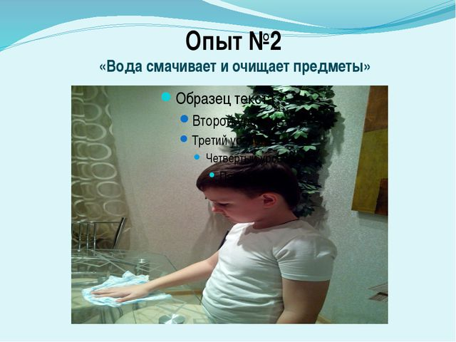 Опыт №2 «Вода смачивает и очищает предметы»