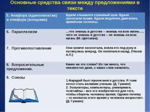 Основные средства связи между предложениями в тексте 5. Анафора (единоначатие