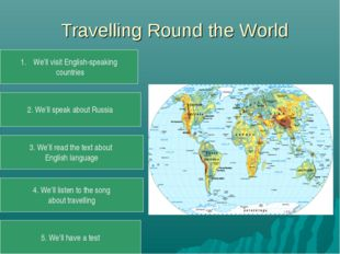 Travelling Round the World We'll visit English-speaking countries 2. We'll s