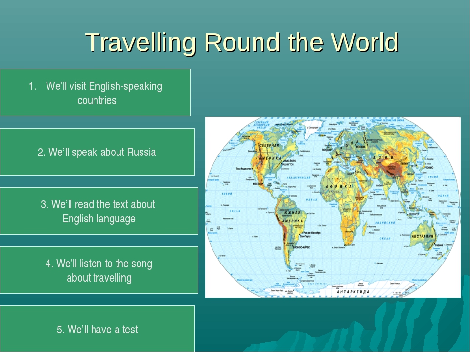 Travelling Round the World We'll visit English-speaking countries 2. We'll s...