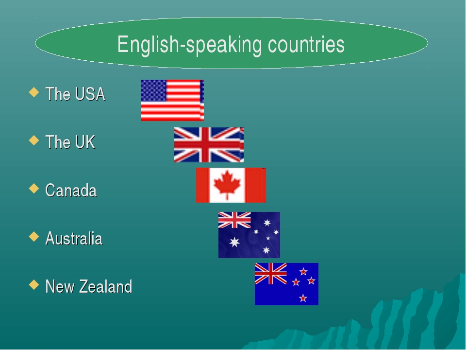 The USA The UK Canada Australia New Zealand English-speaking countries