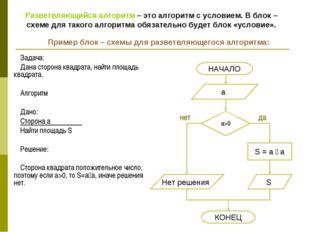 Задача: Дана сторона квадрата, найти площадь квадрата. Алгоритм Дано: Сторона