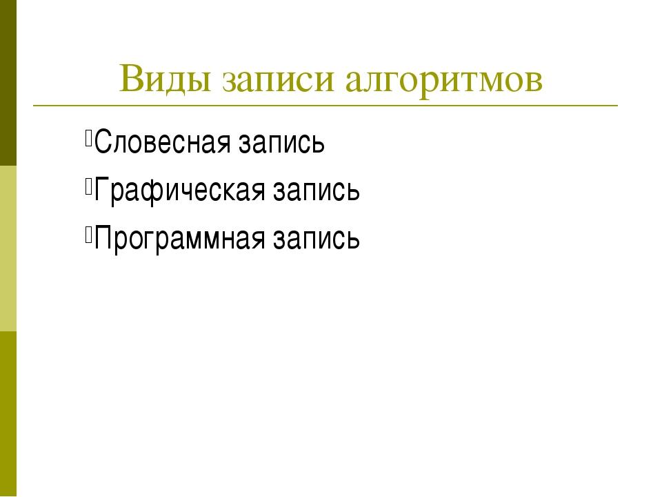 Виды записи алгоритмов Словесная запись Графическая запись Программная запись