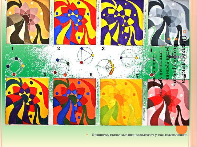 Опишите, какие эмоции вызывают у вас композиции. 1 2 3 4 5 6 7 8