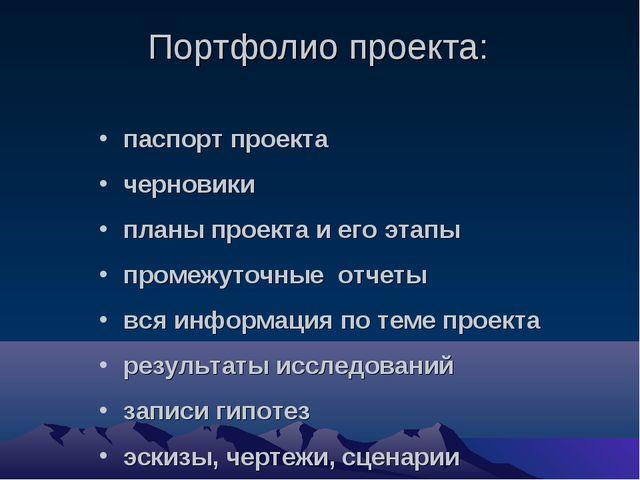 Портфолио проекта: паспорт проекта черновики планы проекта и его этапы проме...