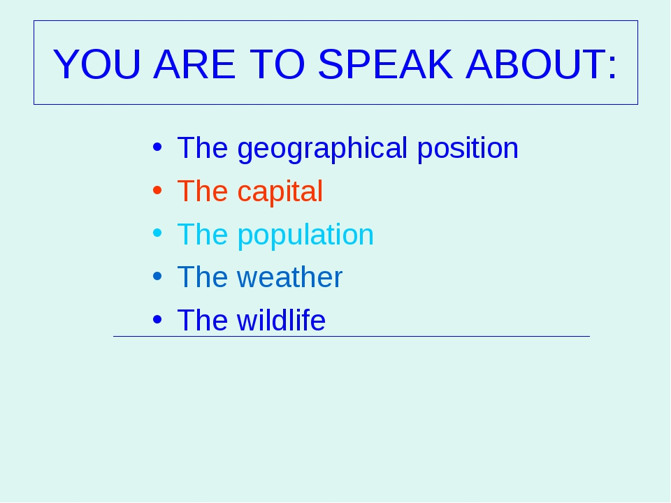 The geographical position The geographical position The capital The popula...