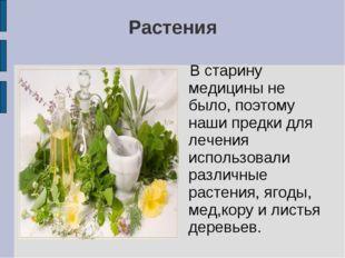 Растения В старину медицины не было, поэтому наши предки для лечения использо