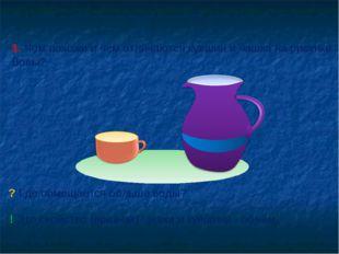 1. Чем похожи и чем отличаются кувшин и чашка на рисунке Вовы? ? Где помещает