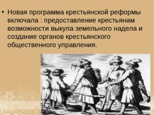 Новая программа крестьянской реформы включала : предоставление крестьянам воз