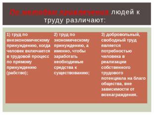 По методам привлечения людей к труду различают: 1) труд по внеэкономическому