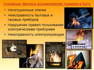 Основные причины возникновения пожаров в быту Непотушенные спички Неисправнос