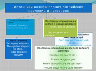 Источники возникновения английских пословиц и поговорок Пословицы, пришедшие