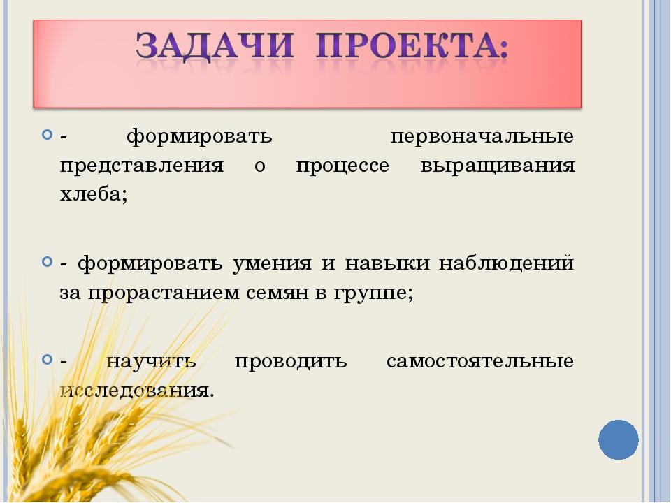 - формировать первоначальные представления о процессе выращивания хлеба; - фо...