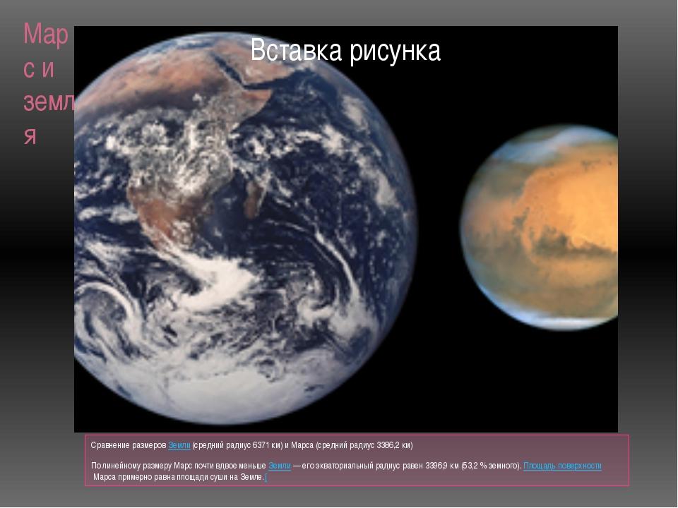 Марс и земля Сравнение размеровЗемли(средний радиус 6371 км) и Марса (средн...