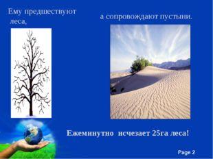 Ему предшествуют леса, а сопровождают пустыни. Ежеминутно исчезает 25га леса!