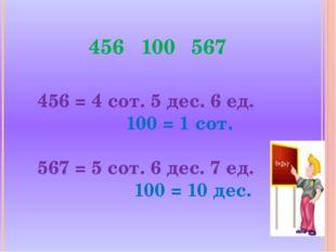 456 = 4 сот. 5 дес. 6 ед. 100 = 1 сот. 567 = 5 сот. 6 дес. 7 ед. 100 = 10 дес