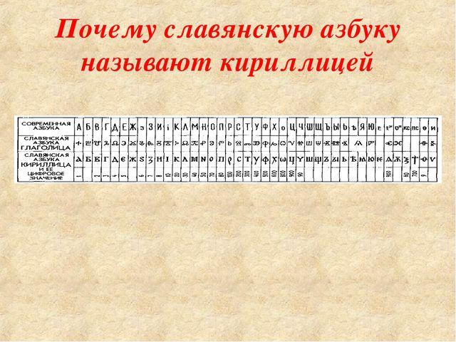 Почему славянскую азбуку называют кириллицей