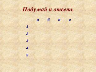 Подумай и ответь абвг 1 2 3 4 5
