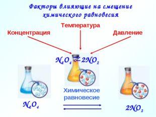 Химическое равновесие N2О4 2NО2 Температура Давление Концентрация Факторы вли