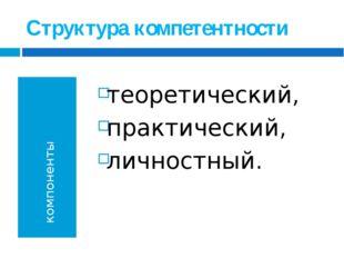 Структура компетентности компоненты теоретический, практический, личностный.