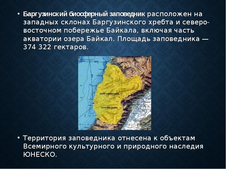 Баргузинский биосферный заповедник расположен на западных склонах Баргузинско...