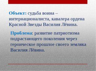 Объект: судьба воина – интернационалиста, кавалера ордена Красной Звезды Васи