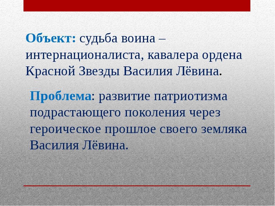 Объект: судьба воина – интернационалиста, кавалера ордена Красной Звезды Васи...