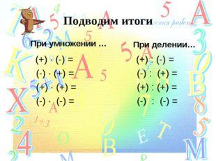 Подводим итоги При умножении … (+) ∙ (-) = (-) ∙ (+) = (+) ∙ (+) = (-) ∙ (-)