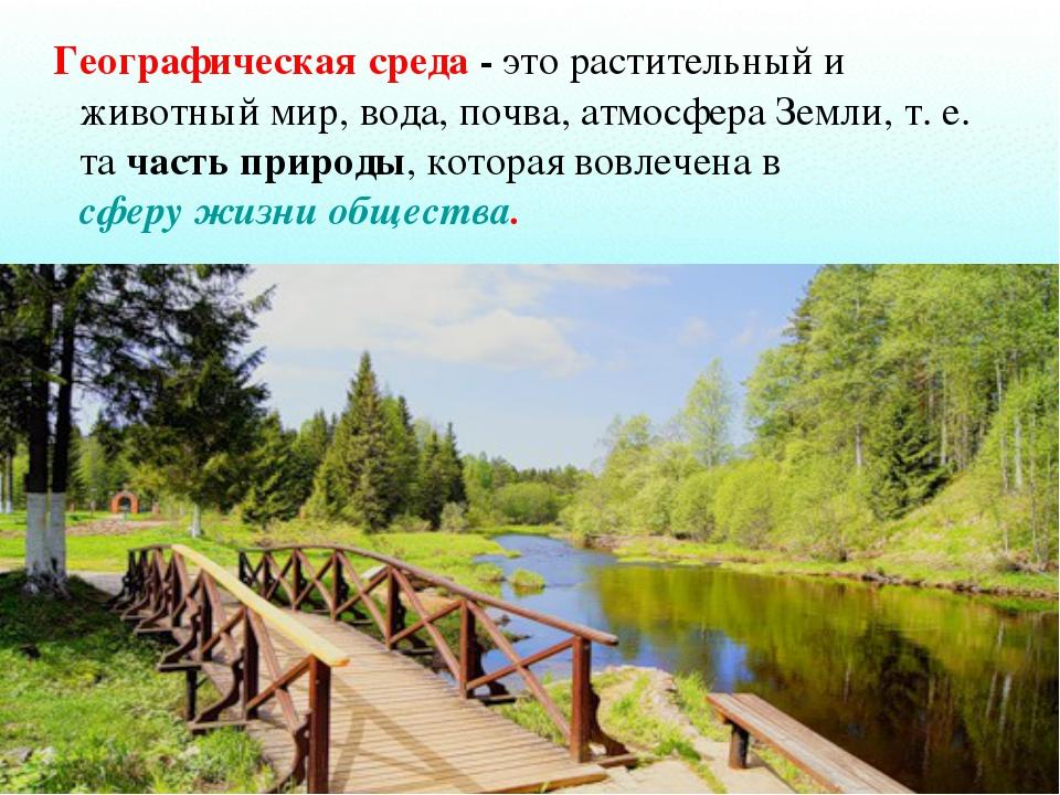 Географическая среда -это растительный и животный мир, вода, почва, атмосфе...