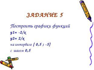 ЗАДАНИЕ 5 Построить графики функций y1= -2/x y2= 2/x на интервале [ 0,5 ; -5]
