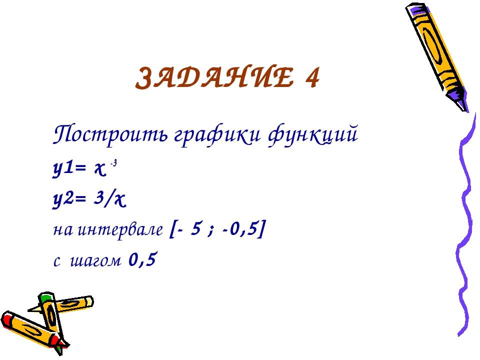 ЗАДАНИЕ 4 Построить графики функций y1= x -3 y2= 3/x на интервале [- 5 ; -0,5...