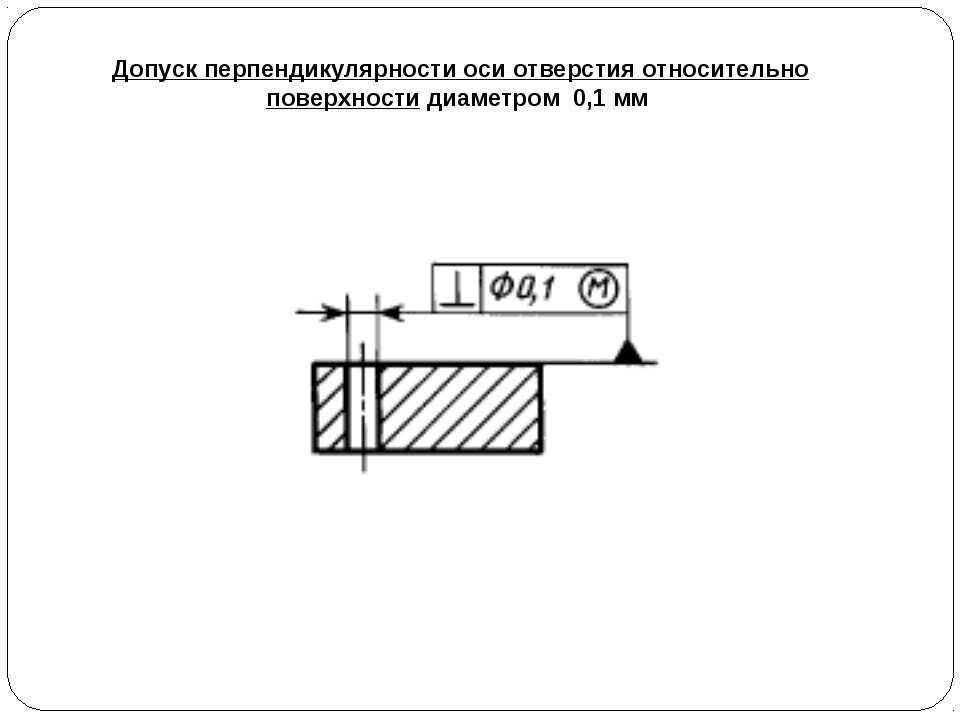 Допуск перпендикулярности оси отверстия относительно поверхности диаметром 0,...