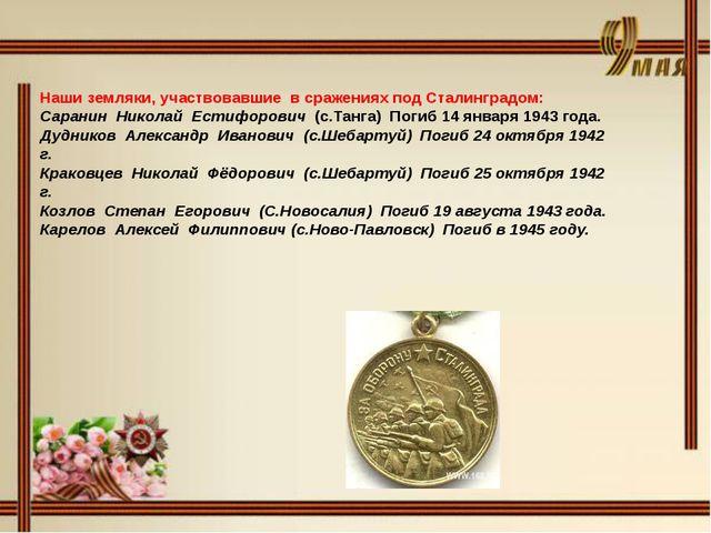 Наши земляки, участвовавшие в сражениях под Сталинградом: Саранин Николай Ес...