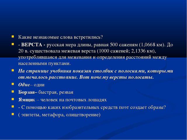 Какие незнакомые слова встретились? - ВЕРСТА - русская мера длины, равная 500...