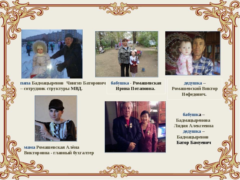 папа Бадмацыренов Чингиз Баторович – сотрудник структуры МВД. мама Ромашевск...