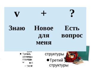 v+? ЗнаюНовое для меняЕсть вопрос Для правки структуры щелкните мышью Вто